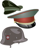 Military Hats and Helmet. Set of 2 Military Hats and one Helmet Stock Photos