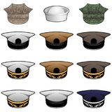 Military Hats Vector Illustration. A random group of military style hats in khaki, white, olive, blue and camouflage, vector illustration, with no ranks and stock illustration