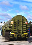 Military havy multi-axle vehicle, back view Royalty Free Stock Image