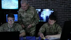 Military headquarters, security service, commander in uniform stock video footage