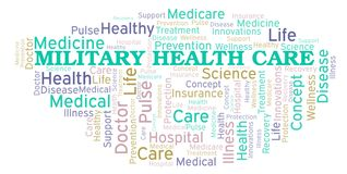 Military Health Care word cloud. Wordcloud made with text only vector illustration