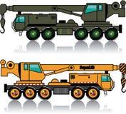 Military heavy crane truck. n orange one. Stock Photos