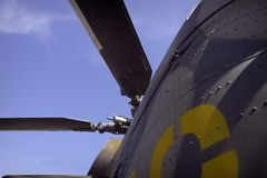 Military helicopter. Details of military helicopter Stock Photo