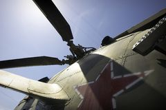 Military helicopter. Red star on the military helicopter Stock Images