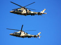 Military helicopter. Two South African Air Force helicopters hovering at Port Elizabeth Airport Stock Image