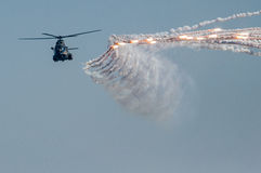 Military helicopter air show rockets Stock Photo