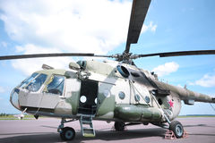 Military helicopter in airfield Royalty Free Stock Images