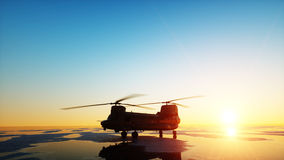 Military helicopter chinook, wonderfull sunset. 3d rendering. Royalty Free Stock Photography