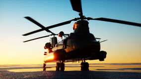 Military helicopter chinook, wonderfull sunset. 3d rendering. Stock Photo
