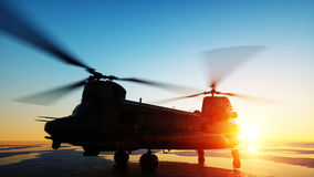 Military helicopter chinook, wonderfull sunset. 3d rendering. Stock Photography