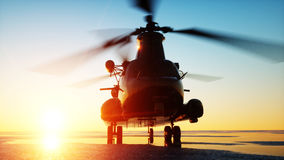 Military helicopter chinook, wonderfull sunset. 3d rendering. Royalty Free Stock Photo
