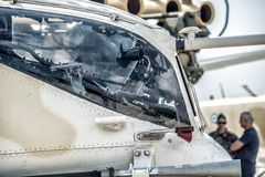 Military helicopter cockpit side view stock photos