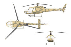 Military helicopter in flat style on white background.  Stock Images
