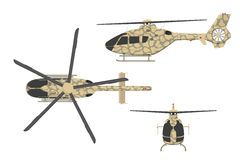 Military helicopter in flat style on white background. Top, side, front view. Army air vehicle. Vector illustration Stock Images