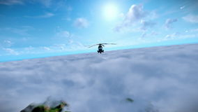 Military helicopter flying over clouds vector illustration
