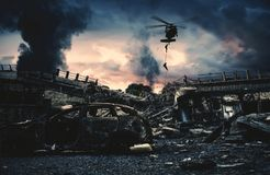 Military helicopter and forces in destroyed city royalty free stock photos