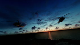 Military helicopter formation flying above ocean, timelapse sunrise vector illustration