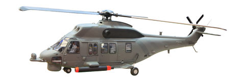 Military helicopter isolated white background Royalty Free Stock Photos