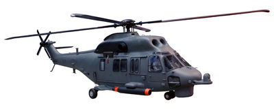 Military helicopter isolated white background royalty free stock photography