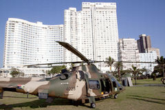 Military Helicopter Landed on Beachfront in Durban Royalty Free Stock Photos