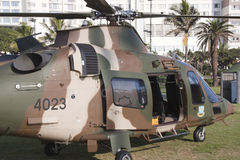 Military Helicopter Landed on Durban Beachfront Royalty Free Stock Photo
