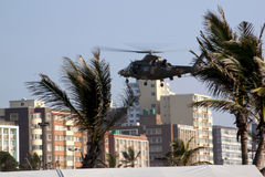 Military Helicopter Landing On Durban Beachfront Royalty Free Stock Photography