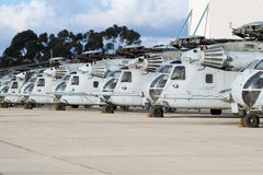 Military Helicopter line-up Stock Images