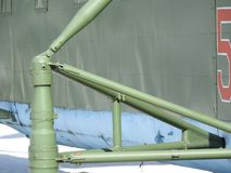 Military helicopter, propellers, installations and units for shooting, close-up.  royalty free stock photography