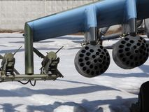 Military helicopter, propellers, installations and units for shooting, close-up.  royalty free stock photo