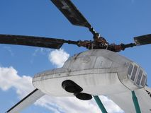 Military helicopter, propellers, installations and units for shooting, close-up.  stock image