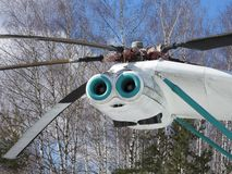 Military helicopter, propellers, installations and units for shooting, close-up.  stock images