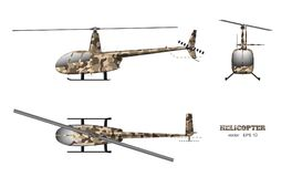 Military helicopter in realistic style on white background. Top, side, front view. Army air vehicle. Vector illustration Stock Photography