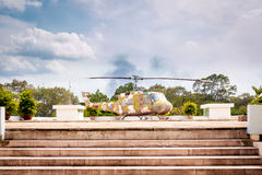 Military helicopter in Reunification Palace. Stock Photo