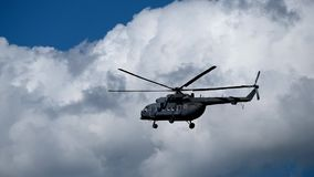 Military helicopter in the sky stock footage