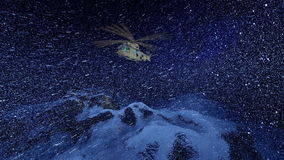 Military helicopter in snow storm, above snowy peaks vector illustration