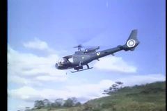 Military helicopter taking off in field stock video