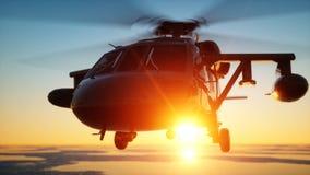 Military helicopter UH-60 Black hawk, wonderfull sunset. 3d rendering. Military helicopter UH-60 Black hawk, wonderfull sunset. 3d rendering stock illustration