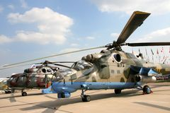 Military helicopters. Of the Russian army at exhibition Stock Images