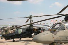 Military helicopters. Of the Russian army at exhibition Stock Image