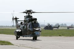 Military helicopters at the airport Stock Photos