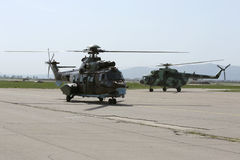 Military helicopters at the airport Stock Photo