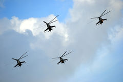 Military helicopters - formation Royalty Free Stock Photography
