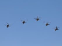 Military helicopters Ka-52 formation flying Royalty Free Stock Photos