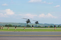 Military Helicopters on maneuvers. A photo close up of a Military helicopters used by the British Royal Navy on a mild english afternoon. Made possible by Royalty Free Stock Photo