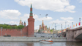 Military helicopters over Red Square Stock Photo