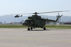 Military helicopters at the airport Stock Image