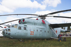 Military helicopters Soviet  USSR big huge aircraft airport Royalty Free Stock Photography