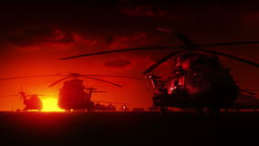 Military helicopters at sunrise Royalty Free Stock Photos