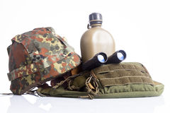 Military helmet and binoculars Royalty Free Stock Photography