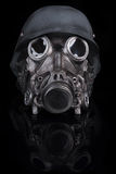 Military Helmet with Goggles and Gas Mask Stock Images